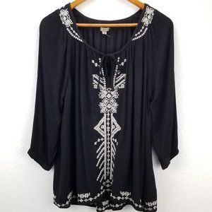 Anthro Aztec Gauzy Embroidery Blouse